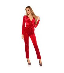 sexy jumpsuit fluweel look met glitter draden & riem bordeaux