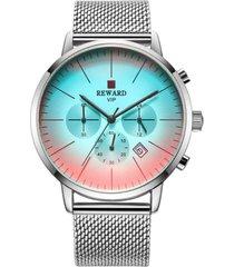 reloj hombre cronografo lujo acero inoxidable reward 82004 plateado