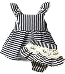 clothing sets, sleeveless stripe belt t-s+white lace shorts set