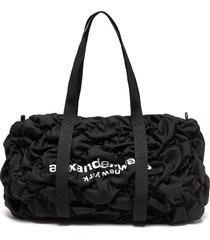 'rebound' logo print diamond quilt ruched nylon duffle bag