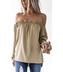 blusas con dobladillo curvo con hombros descubiertos y gasa de color caqui