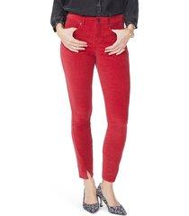 women's nydj ami twisted seam split ankle skinny jeans, size 14 - red