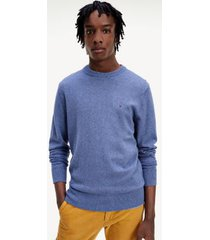tommy hilfiger men's cotton cashmere crewneck sweater faded indigo heather - s