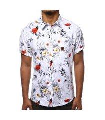 camisa camaleão urbano floral rosas masculina