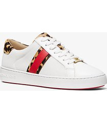 mk sneaker irving in mesh con strisce in pelle effetto cavallino motivo ghepardo - op wht/nat - michael kors
