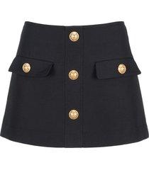 balmain wool mini a-link skirt