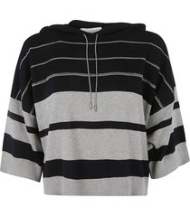 fabiana filippi stripe patterned hooded sweatshirt