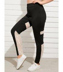 yoins plus talla encaje patchwork pantalones