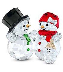 estatueta família de bonecos de neve - branco