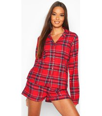 geborstelde geruite pyjama set met lange mouwen en shorts, red