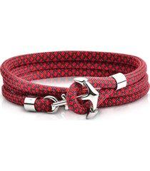 forzieri designer men's bracelets, red black rope triple bracelet w/anchor