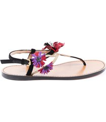 valentino flower thong sandals red/brown sz: 5