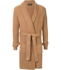 dolce & gabbana belted cashmere cardigan - brown