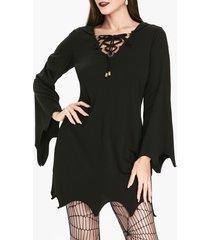 gothic hooded lace up sharkbite trim dress