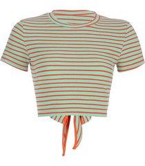 camiseta mujer ombligo de manga corta con tira a rayas