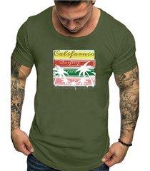 hombres verano casual cototn soft plain graphic letter t-shirt