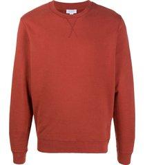 sunspel ribbed edge crew neck sweatshirt - red