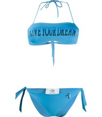 alberta ferretti printed bandeau bikini - blue