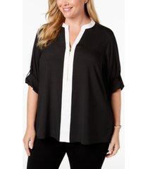 calvin klein plus size zip-front blouse