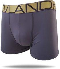 cueca boxer kevland microfibra cinza elástico dourado