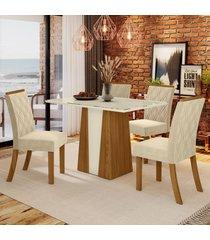 mesa de jantar 4 lugares keltin nature/off white/linho - bci móveis