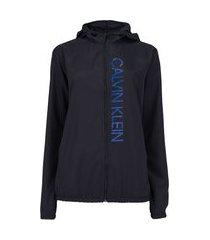 jaqueta corta-vento feminina calvin klein com capuz big logo