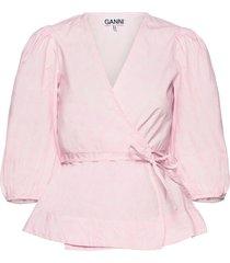 printed cotton poplin blouse lange mouwen roze ganni