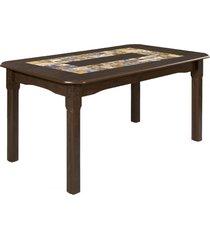 mesa de madeira imperial castanho rústico - art panta
