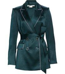 women's veronica beard eiza belted satin jacket, size 14 - green