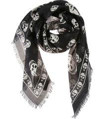 alexander mcqueen ca skull fringe edge scarf