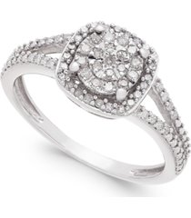 cushion-cut diamond promise ring (1/4 ct. t.w.) in sterling silver