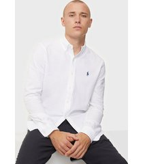 polo ralph lauren featherweight long sleeve knit skjortor white
