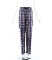 burberry plaid silk drawstring pants blue/multicolor sz: l