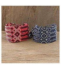 macrame wristband bracelets, 'solola heritage' (pair) (guatemala)