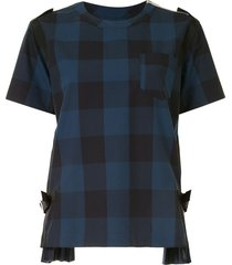 sacai check-print buckle detail blouse - blue