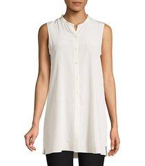 long sleeveless silk top