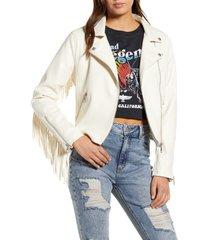 women's vigoss fringe faux leather moto jacket, size medium - white