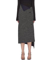'verna' asymmetric foldover button front midi skirt