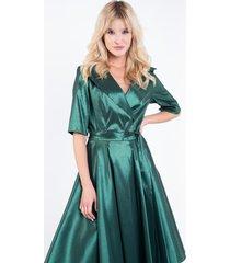 zielona, błyszcząca sukienka z tafty