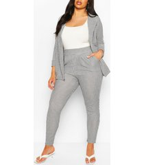 plus gingham tailored blazer trouser co-ord, black