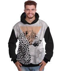 blusa de moletom di nuevo onça pintada selva preta e branca animal preto