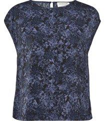 recycle polyester blouse ss blouses short-sleeved blauw rosemunde