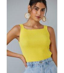 regata amaro tricot decote quadrado amarelo - amarelo - feminino - dafiti