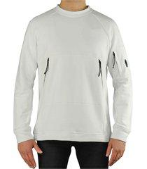 c.p. company diagonal raised fleece white sweatshirt
