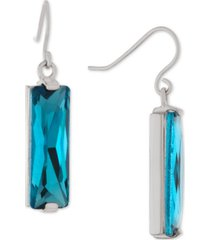 giani bernini crystal rectangle drop earrings in sterling silver, created for macy's