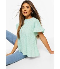 broderie anglaise smock top, mint