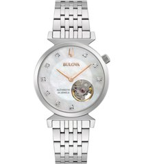 bulova women's automatic classic regatta diamond-accent stainless steel bracelet watch 32.2mm