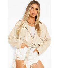 wide sleeve belted pu jacket, stone