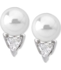 majorica sterling silver triangle cubic zirconia & imitation pearl stud earrings
