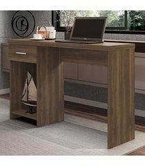 mesa escrivaninha 1 gaveta prisma new carvalho - móveis germai